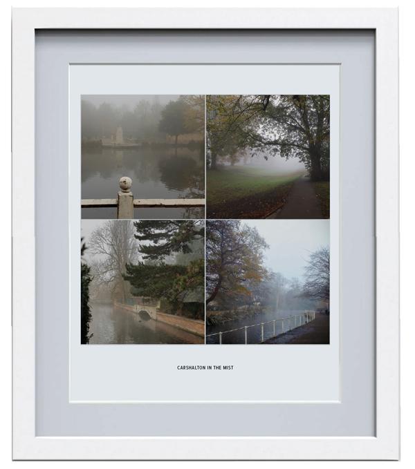 Carshalton in the mist framed print