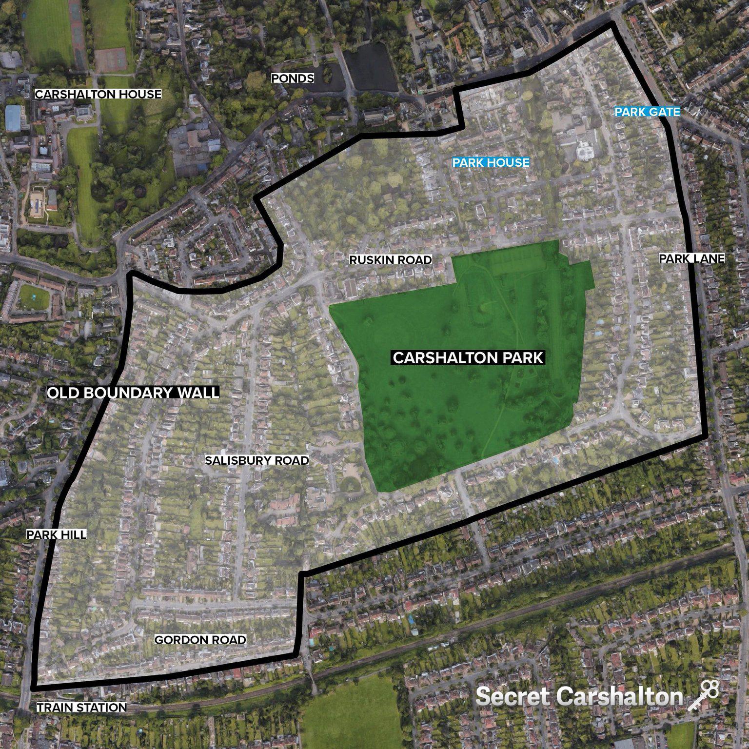 Location of Old Boundary Wall Around Carshalton Park
